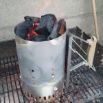 allumer avec une cheminée a barbecue