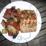 assiette pavé de saumon barbecue