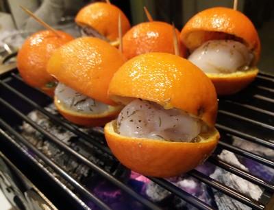 clementines saint jacques en cuisson