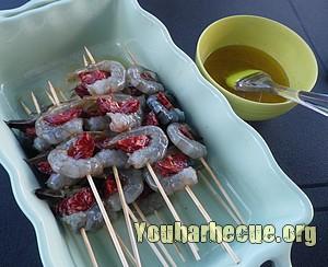 crevettes au chorizo avant cuisson