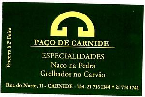 carte restaurant Paço de Carnide