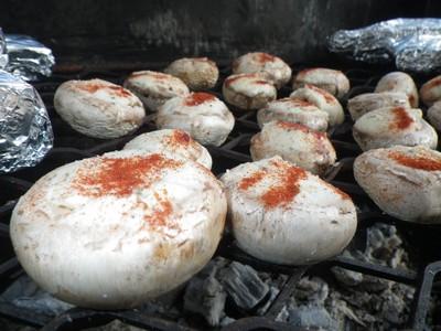 champignons et boursin au barbecue
