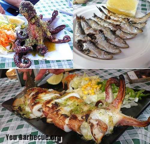 poulpe calamar seche grillées barbecue andalousie