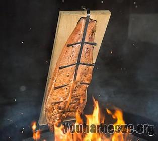 saumon flambé au barbecue