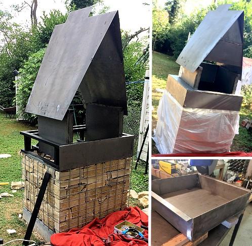 Barbecue en gabion en peinture