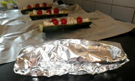 courgettes tomate mozza en papillote