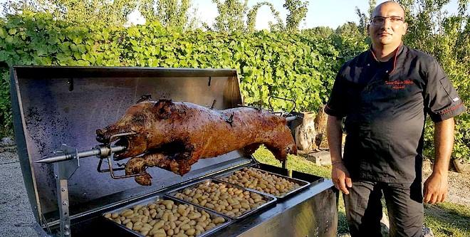 tournebroche cochon et jambon Isere